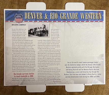 Denver Rio Grande Western RR Fact Card - NO PATCH INCLUDED
