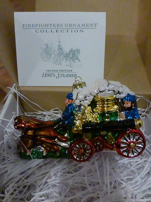 IAFC Firefighter 2nd Ed Ornament 1890s Steamer