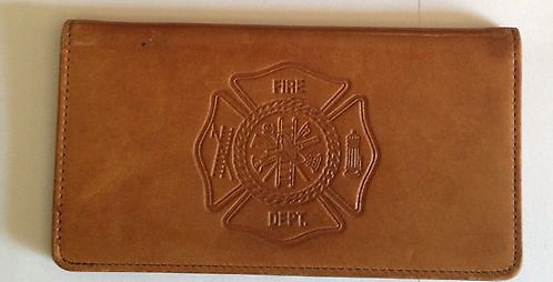 100% Leather Top Tear Checkbook Wallet - Fire