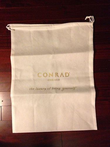 Conrad Hilton Chicago - White Drawstring Bag 19x25