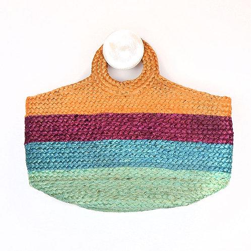Pom natural jute bag with multi-coloured coloured stripes