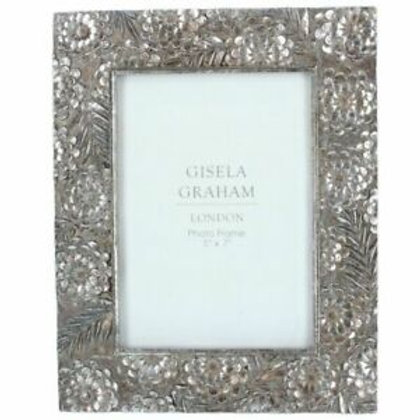 "Gisela Graham Silver Floral Picture Frame - 5"" x 7"""