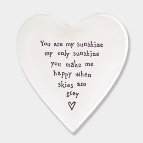 East of India 'you are my sunshine' Porcelain heart coaster