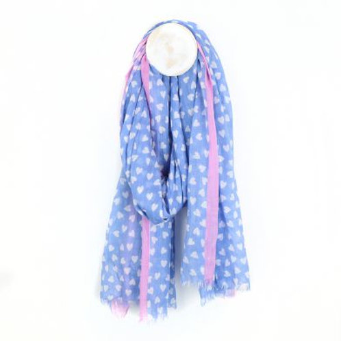 Pom blue and white heart print cotton scarf with pink boarder
