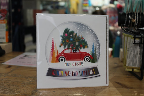 'To Mum and Dad with Love' Red Car Christmas Card