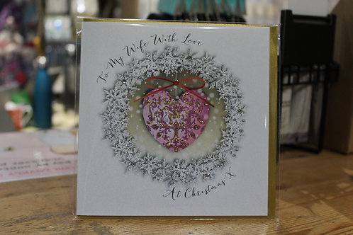 'To my Wife with Love' Heart Wreath Spouse Christmas Card