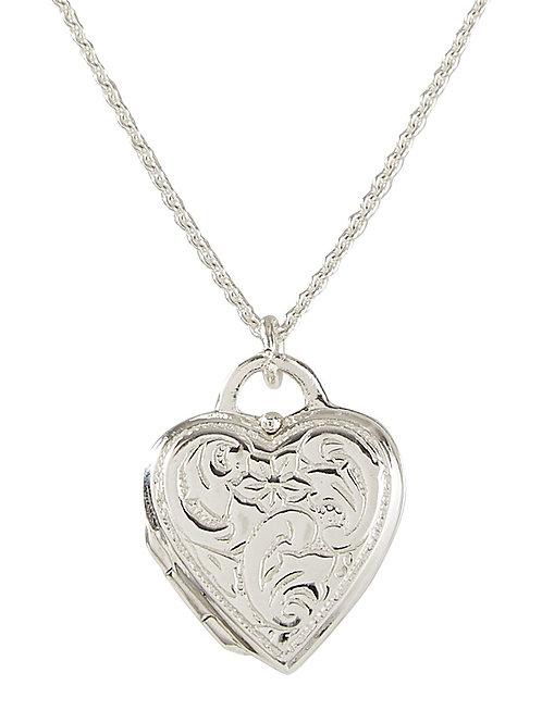 Jambo jewellery sterling silver patterened heart locket