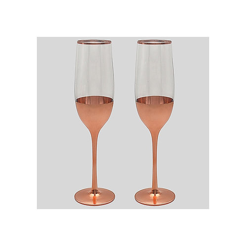 Set of Two Rose Gold Wine Flutes