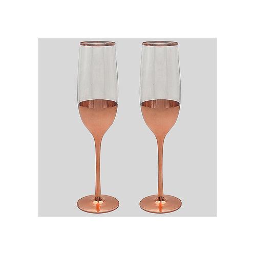 Set of Two Rose Gold Wine Flutes