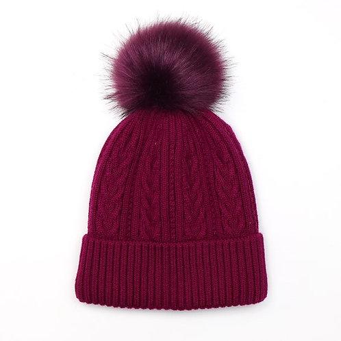 Pom Plum Faux Fur Cable Knit Bobble Hat