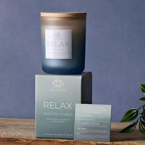 Serenity relax candle, rose, cardamon and pink pepper 120g