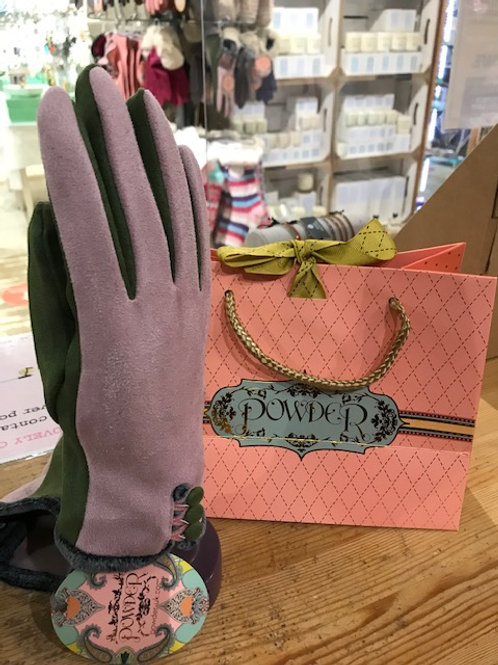 Powder women's gloves pink and green