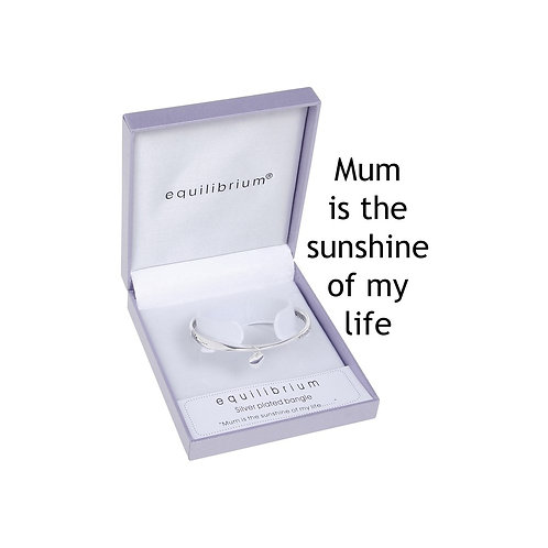 "Equilibrium ""Mum is the sunshine of my life"" Silver Bracelet"