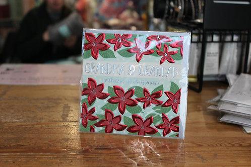'Grandma & Grandad with Love at Christmas' Red Flowers Christmas Card