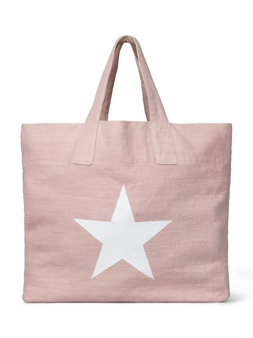 Chalk pink natural fibre shopper with giant star print