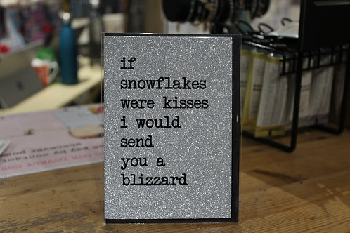 'If Snowflakes were Kisses' Silver Glitter Romantic Christmas Card