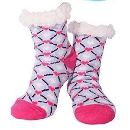 Nuzzles women's bright pink heart print socks
