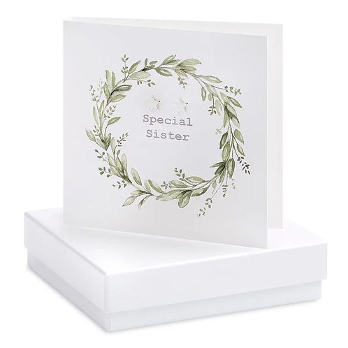 Crumble and core 'special sister' boxed earring card