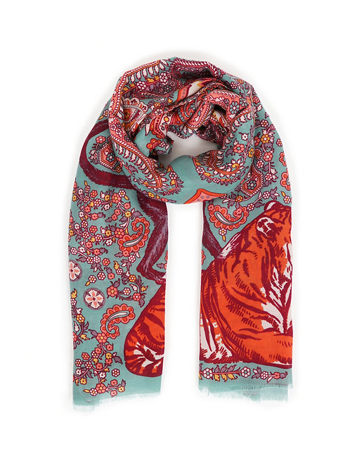 Powder Turquoise and Red Paisly Tiger Print Scarf