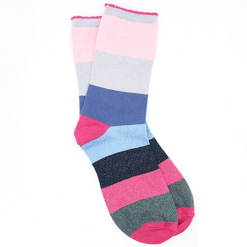 Pom pink mix colour block striped ankle socks