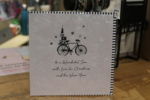 'To a Wonderful Son with Love' Bicylce Son Christmas Card