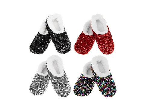 Snoozies Fuzzy Sequined Slippers - Multicolour