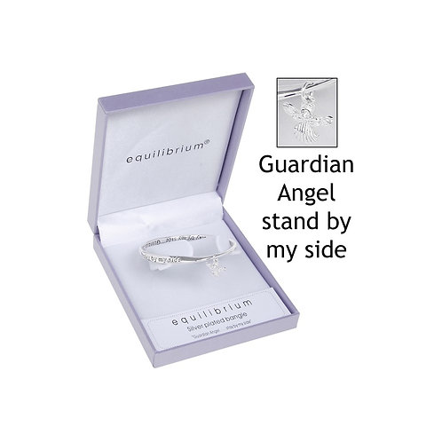 "Equilibrium ""Guardian Angel stay by my side"" Silver Bracelet"