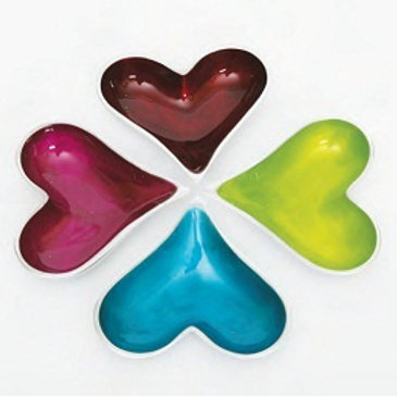 Azeti recycled aluminium mini heart bowls