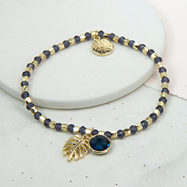 Pom gold and blue bead bracelet with palm leaf and crystal