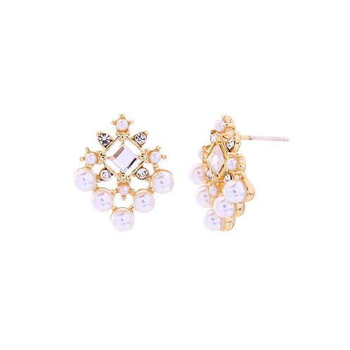Last true angel white and gold detailed earrings