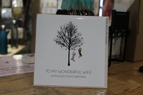'To my Wonderful Wife with Love for Christmas' Winter Tree Christmas Card