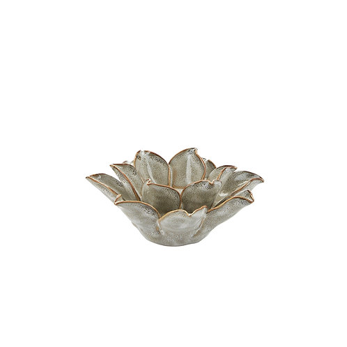 Bahne ceramic flower t-light holder in grey