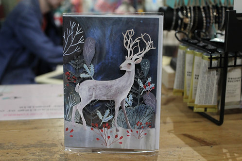 Roger la Borde White Deer in Nature Christmas Card