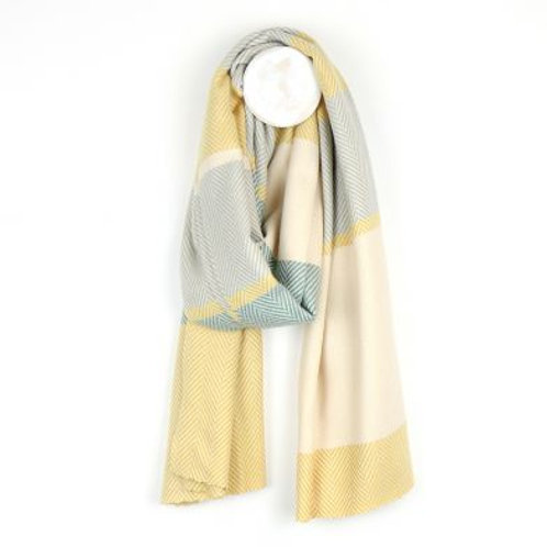 Pom Soft pastel yellow, teal and grey wide stripe scarf