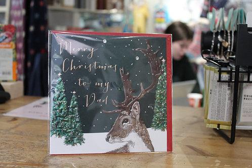 'Merry Christmas To my Dad' Deer Christmas Card