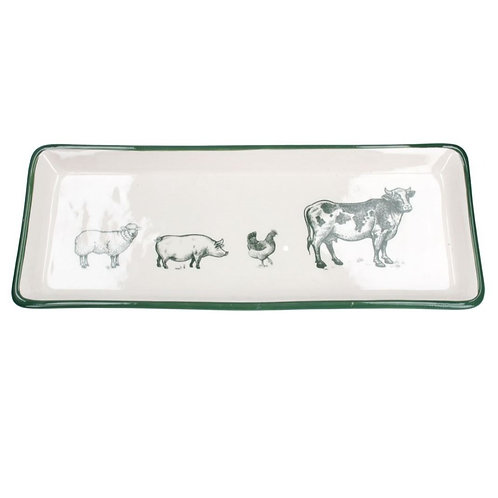 Gisela Graham green and white farmyard plate
