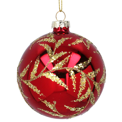 Gisela Graham Red with Gold Leaves Christmas Bauble