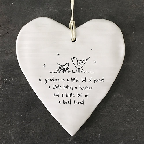 East of india 'a grandma is a little bit of parent' hanging porcelain heart