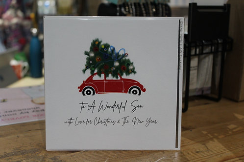 'To a Wonderful Son' Red Car SonChristmas Card