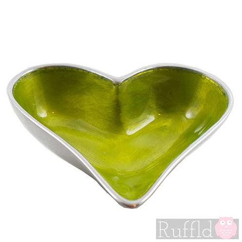 Azeti recycled aluminium lime mini heart bowl