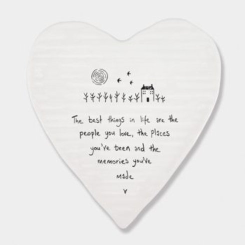 East of India 'the best things in life' porcelain heart coaster