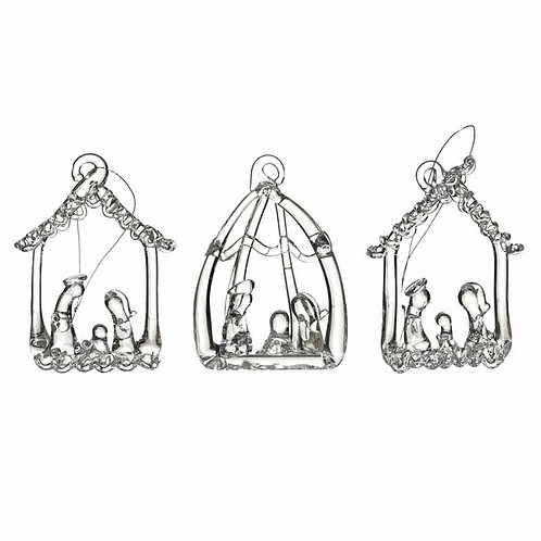 Heaven Sends Clear Glass Manger Christmas Decoration (sold as single)