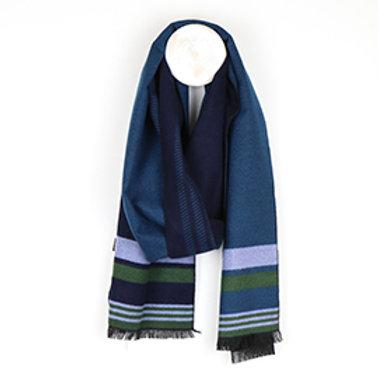Pom men's navy mix soft striped winter scarf