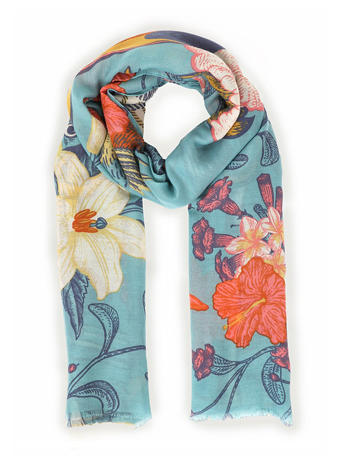 Powder Festival Turquoise Floral Print Scarf