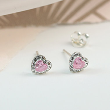 Pom sterling silver pearl and pink crystal heart stud earrings