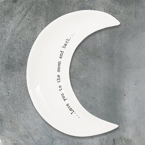 East of india 'love you to the moon and back' porcelain wobbly moon bowl
