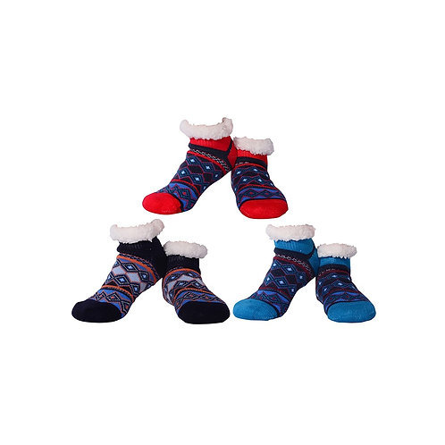 Nuzzles Mens Non-Skid Sole Lined Christmas Socks - Sports Style
