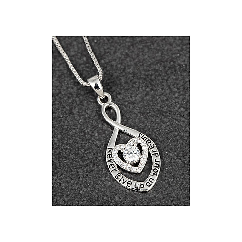 Equilibrium 'Never give up on your dreams' White gold plated heart necklace