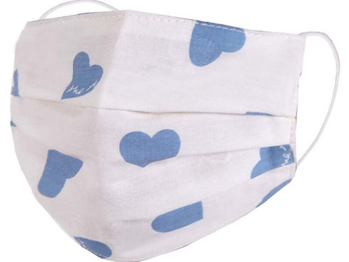Zelly Kids Fashion Face Covering - Blue Hearts