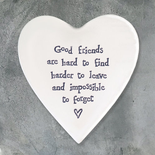 East of india 'good friends' porcelain boxed heart coaster